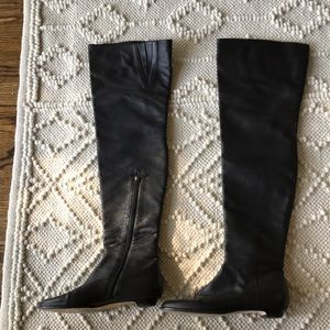 Jimmy Choo black leather boots. Over the knee.